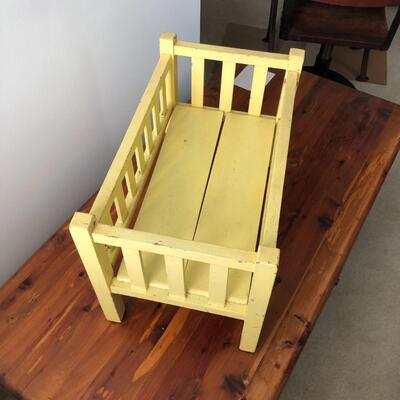 Lot 21 - Antique Yellow Doll Bed