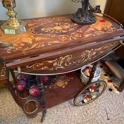 Inlayed antique tea cart