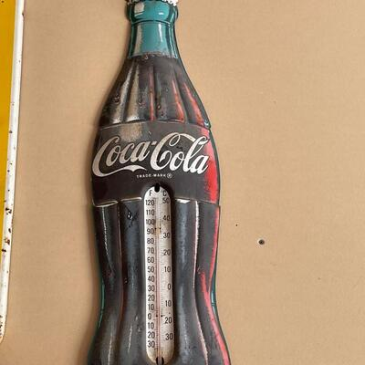 Large Coke Metal sign thermometer