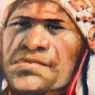 LOT 2  Chief Standing Bear Original Pastel Painting by Carol Theroux