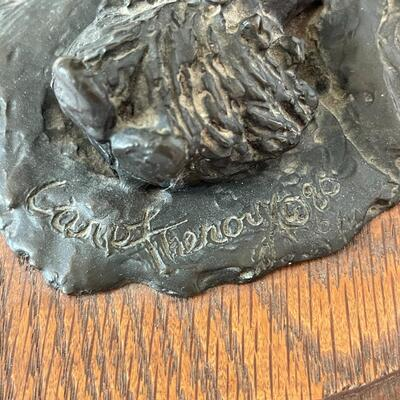 """Lot 4. Original Bronze Sculpture by Carol Theroux """"Number One Son"""""""