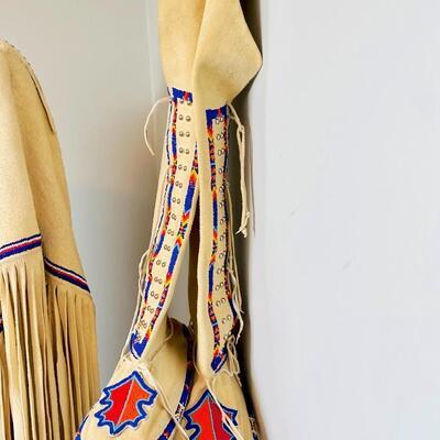 Lot 5  OAK Southern Plains Style Elk Hide 2 pc Buckskin Dress Regalia Moccasins & Breast Plate Pow Wow