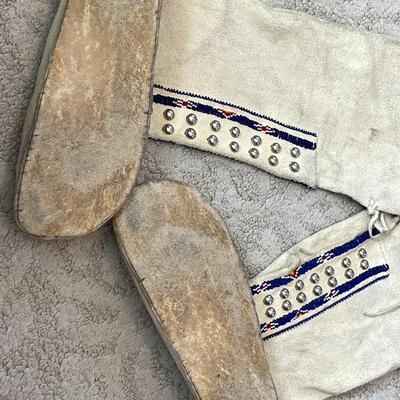 Lot 6  Native American High Plains Indian Boot Moccasins Beaded Design