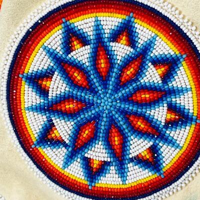 Lot 9  Native American Beaded Elk Drawstring Bag Plains Indian Crystal Fringe Hand Made