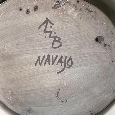 Lot 12  Native American Polished Black Pottery TWB Navajo Wedding Vase Blackware