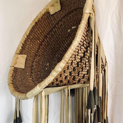 Lot 15  Apache Burden Basket Fringe Metal Cones Native American
