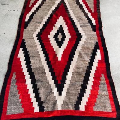 Lot 16  Native American Large Navajo Weaving Rug Diamond Pattern AS IS