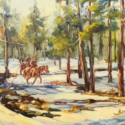 Lot 19  Original Oil on Canvas by Carol Theroux Riders on Horseback Forest Winter Scene Western Art
