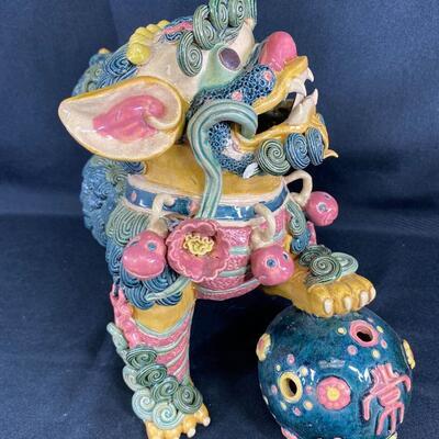 Vintage Colorful Asian Foo Dog Figurine Pottery Statue