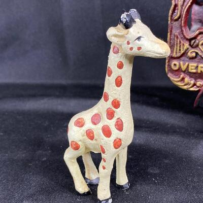 Vintage Cast Iron Overland Circus Car with Giraffe Doorstop