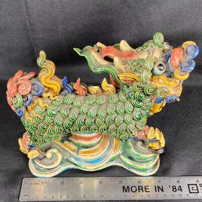 Colorful WuCai Asian Pottery Foo Dog Dragon Lion Statue Figurine
