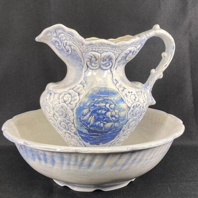 Large Nautical Theme White and Blue Wash Basin Bowl with Pitcher