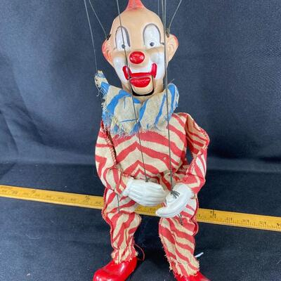 Vintage Peter Puppet Playthings Clarabell Clown Howdy Doody 1950s String Puppet Marionette