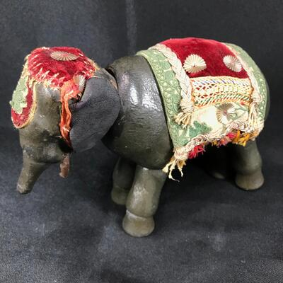 Vintage Articulated Wooden Elephant Figurine