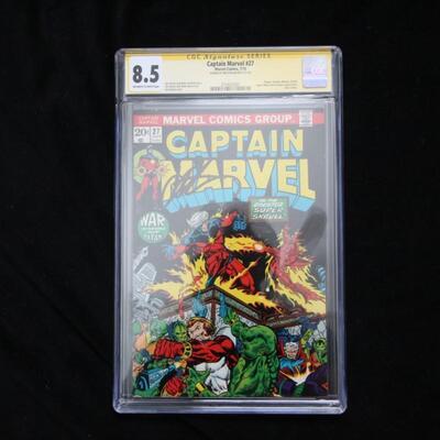 Captain Marvel #27 (1973,Marvel) CGC Signed 8.5 VF+