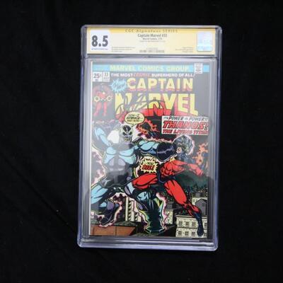 Captain Marvel #33 (1974,Marvel) CGC Signed 8.5 VF+