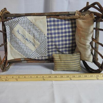 Vintage Rocking Bentwood Childs Doll Baby Bed