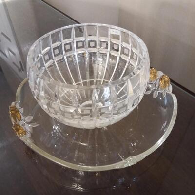 Crystal Bowl and Tray