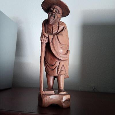 Carved Wooden Statue of Old Man