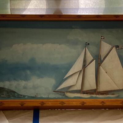 100 Antique 1928 Folk Art Maritime Framed Case Diorama by Arthur E. Howard