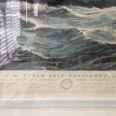 """107 Antique Lithograph with hand coloring  """" The View of the Steam Ship President"""" by Henry Papprill"""