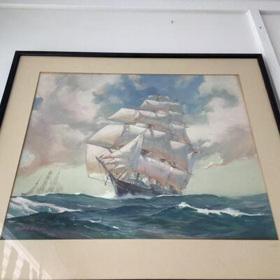 113 Original Gouache/Board Ship Painting by Robert Oliver Skemp (1910-1984)