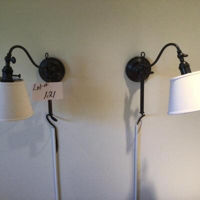 121 Pair of Metal Plug In Wall Lamps