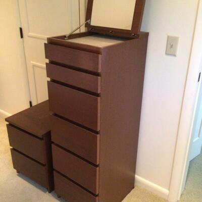 122 IKEA Matching Wood Lingerie Chest and Night Stand