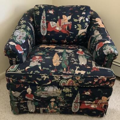 131 KINDEL Upholstered Navy Blue Asian Design Club Chair