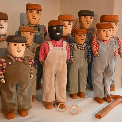 Miner sculpture lot by Troy Webb