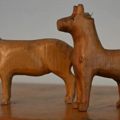 Dog sculpture pair