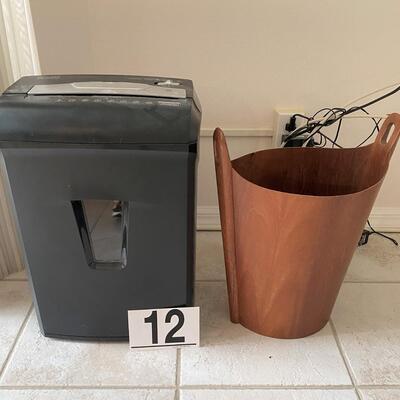 LOT#12MB: MCM Teak Waste Bin and Shredder Lot