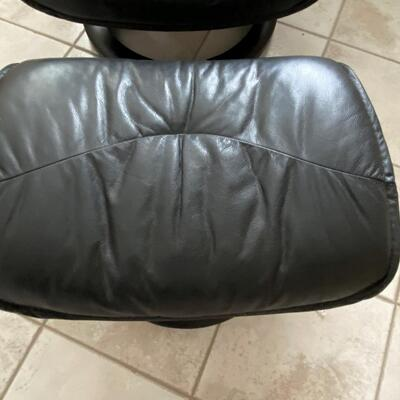 LOT#19U: Faux Leather Stressless Style Recliner and Ottoman
