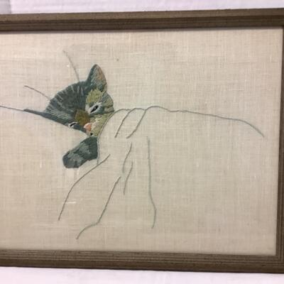 220 Pair of Framed Cat Themed Needle Work
