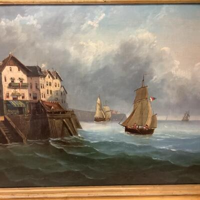 223. Antique Signed Original Oil Painting of the Dockside by G. Levy