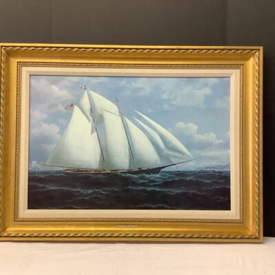 225  Large Reproduction Painting on Canvas Of  The Casco 1879, William A. Coulter