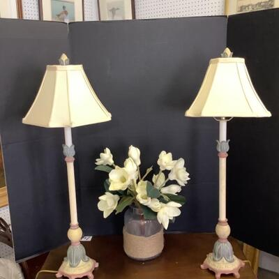 231  Pair of Candlestick Lamps &  Bouquet of Magnolias