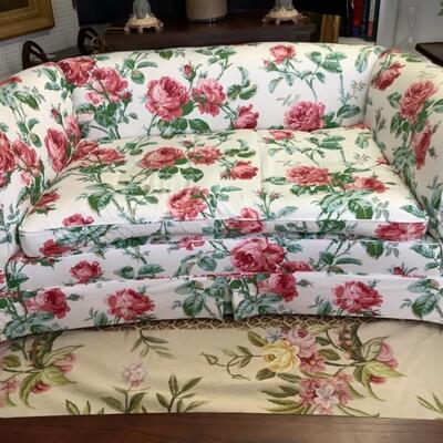 232. Custom Upholstered Loveseat with Down Filled Cushion with RAMM Fabric Versaille Rose