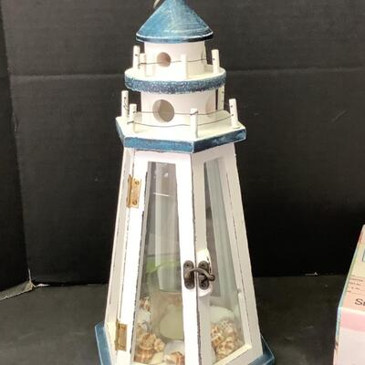 235  Wooden Lighthouse Votive & Custom Made Wooden Tissue Box Covers