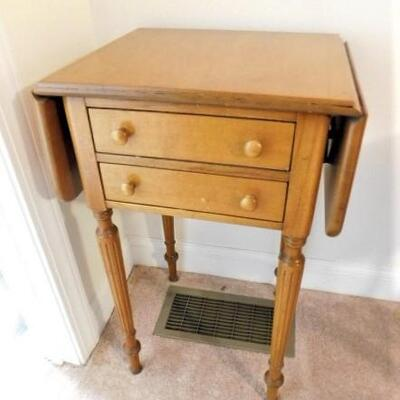 Vintage Solid Wood Maple Double Drawer Drop Leaf Table with Fluted Legs