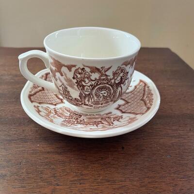LOT 8 - Teapot, Tea Cups & Saucer Plates Set, Alfred Meakin, Fair Winds, 10 pieces