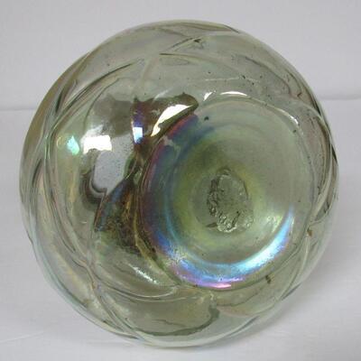 Vintage Bohemian/Czechoslovakian Art Glass Vase With Copper Collar, Great Pontil On Bottom, Iridized
