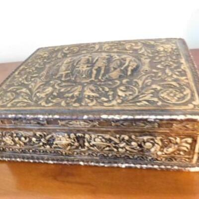 Vintage Leather Bound Mahogany Wood Storage Box Iron Smith and Anvil Theme