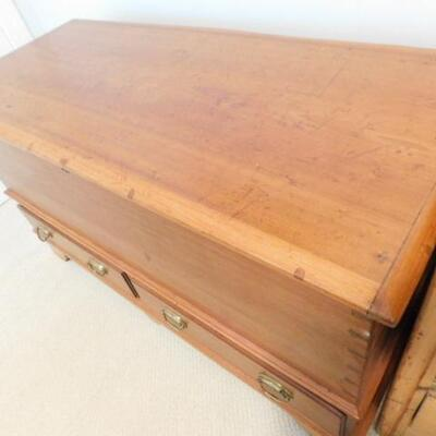 Antique Solid Maple Wide Panel Blanket Chest with Dovetail Details