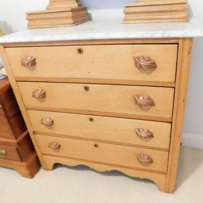 Antique Chest Of Drawers with Vanity Mirror and Marble Top