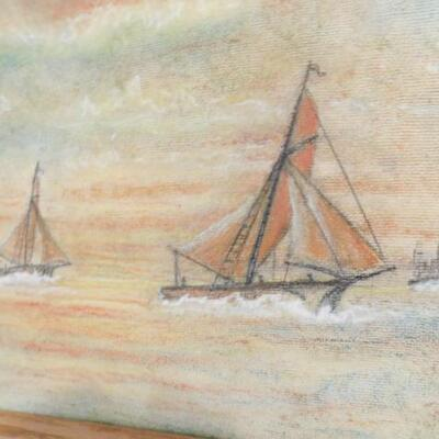 Vintage Color Pencil Framed Art by Local Artist Signed E. Welty
