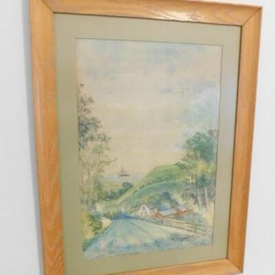Vintage Color Pencil  Landscape Art by Local Artist Signed E. Welty