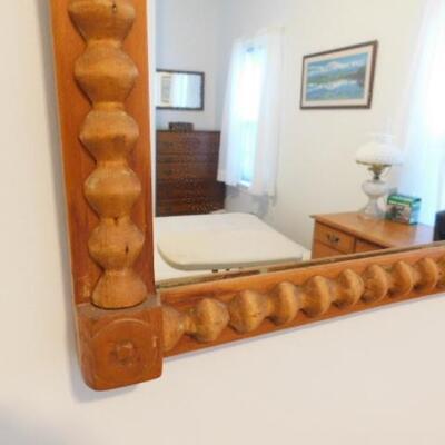 Vintage Turned Wood Barley Twist Framed Beveled Mirror