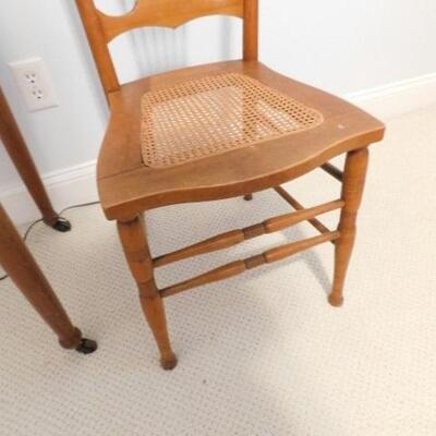 Antique Maple Wood Cane Bottom Chair