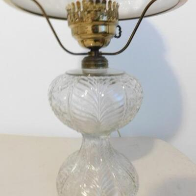 Vintage Table Hurricane Lamp with Clear Glass Post and Layered Milk Glass Shade